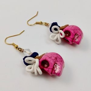 Pink Halloween Themed Statement Earrings